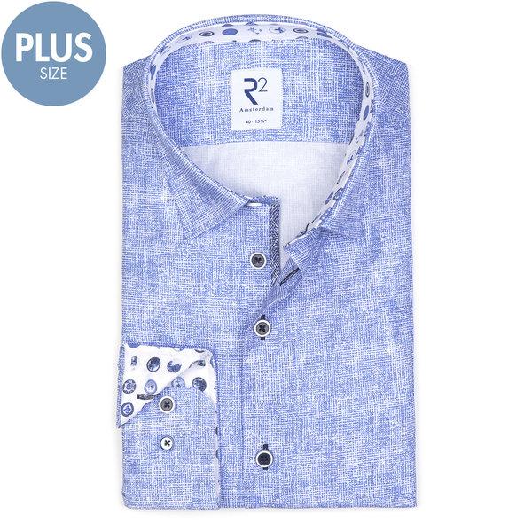 Plus Size Fit. Light blue printed cotton shirt.