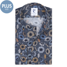 Plus Size Fit. Dark blue flower print cotton shirt.