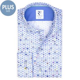 R2 Plus Size. Wit stippen print katoenen overhemd.