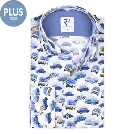 Plus Size Fit. White car print cotton shirt.
