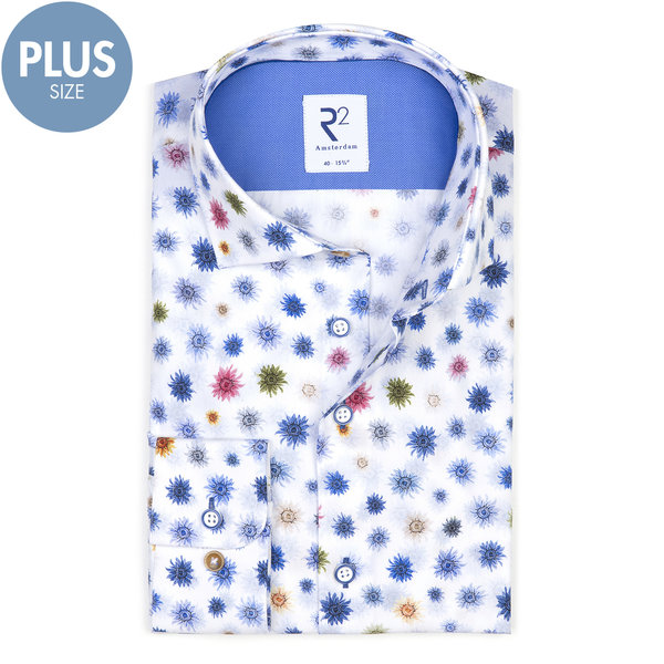 Plus Size. Wit bloemenprint katoenen overhemd.