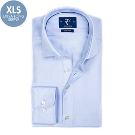 R2 Extra Long Sleeves. Blue non-iron cotton shirt.