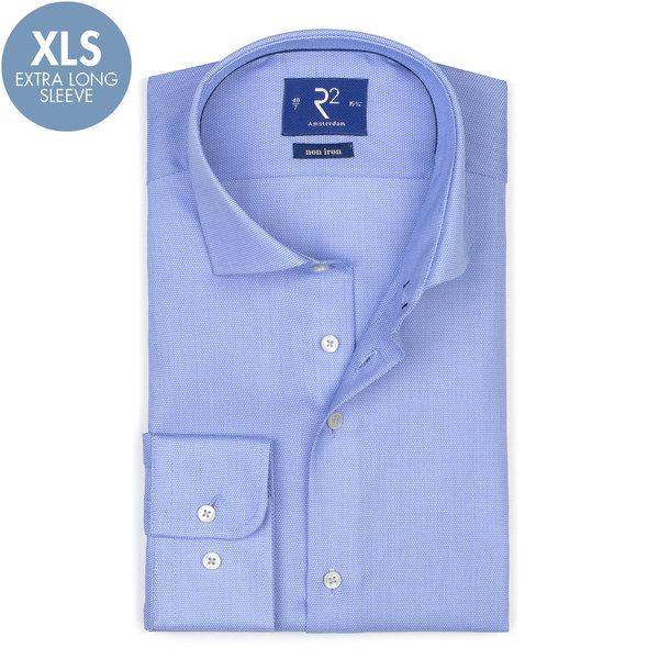 R2 Extra Long Sleeves. Blue non-iron cotton shirt.