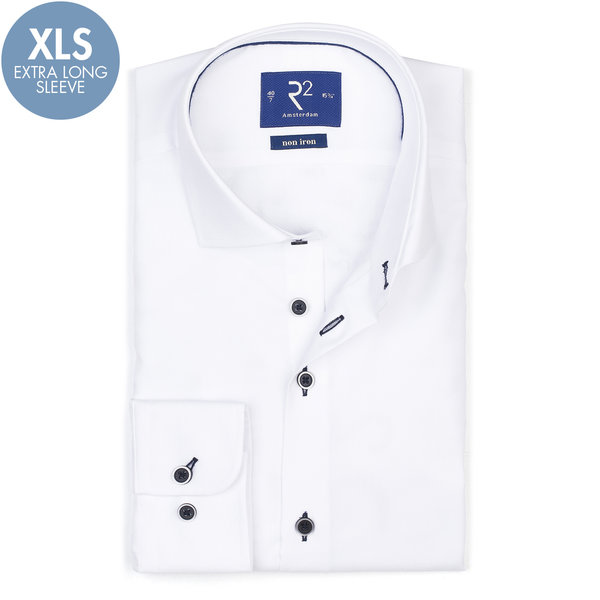 R2 Extra Lange Mouwen. Wit strijkvrij katoenen overhemd.