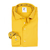 Yellow garment dyed cotton shirt.