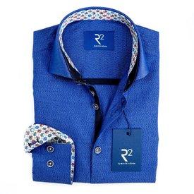Kids cobalt blue mouliné cotton shirt.