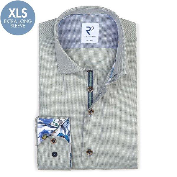 Extra Long Sleeves. Light green cotton shirt.