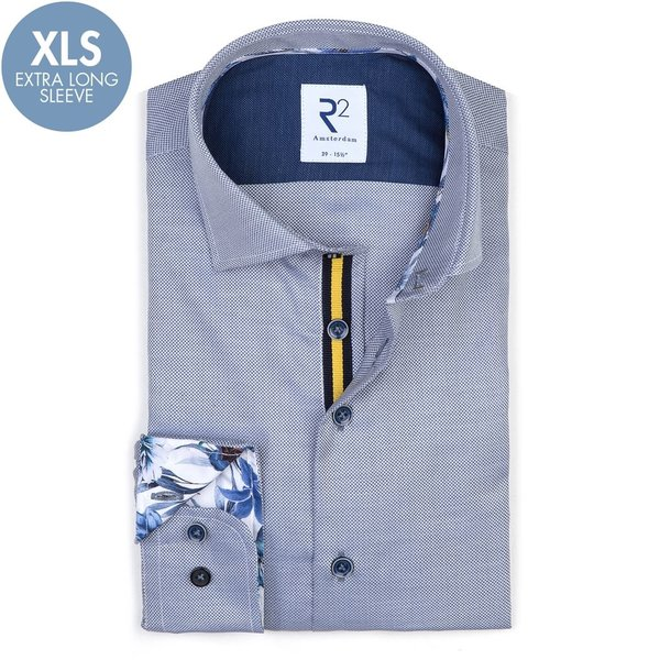R2 Extra Lange Mouwen. Blauw katoenen overhemd.