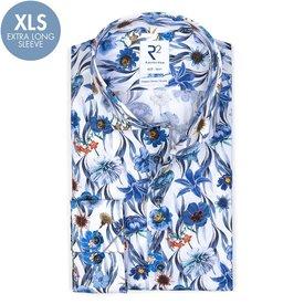 R2 Extra Lange Mouwen. Blauw bloemenprint katoenen overhemd.
