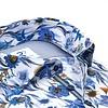 Extra Long Sleeves. Blue flower print cotton shirt.