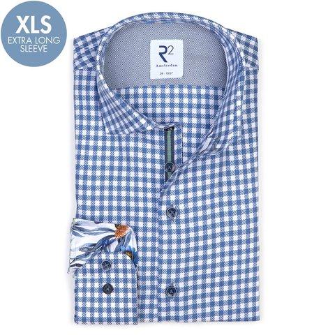 Extra Lange Mouwen. Blauw Twill geruit katoenen overhemd.