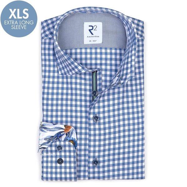R2 Extra Lange Mouwen. Blauw Twill geruit katoenen overhemd.