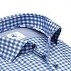 Extra Lange Mouwen. Blauw geruit pied-de-poule katoenen overhemd.