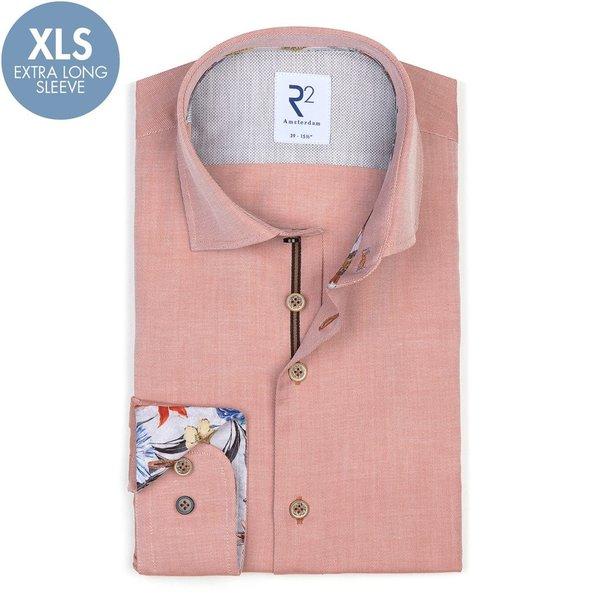 R2 Extra Long Sleeves. Orange cotton shirt.