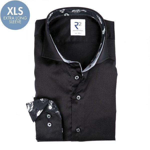 R2 Extra Lange Mouwen. Zwart katoenen overhemd.