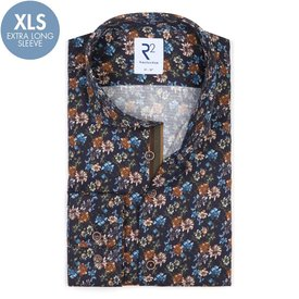 Extra Long Sleeves. Flower print cotton shirt.
