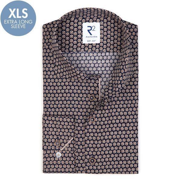 R2 Extra Long Sleeves. Flower print cotton shirt.