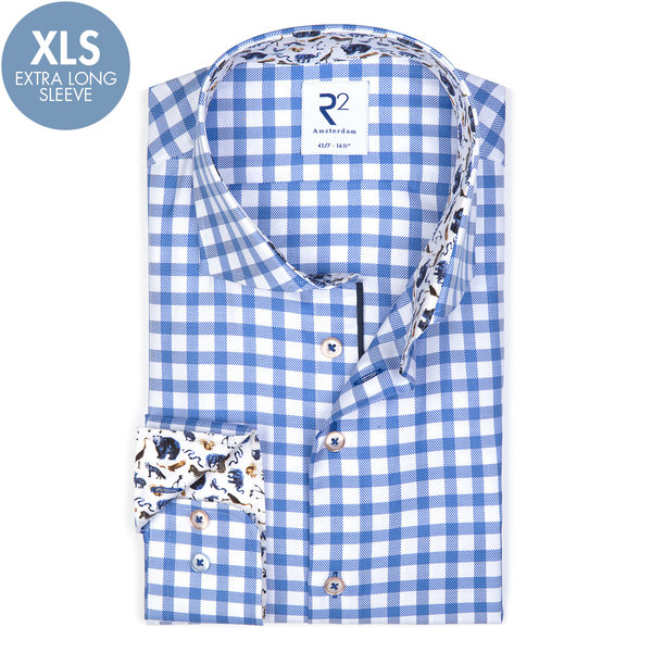 R2 Extra Long Sleeves. Blue check oxford cotton shirt.