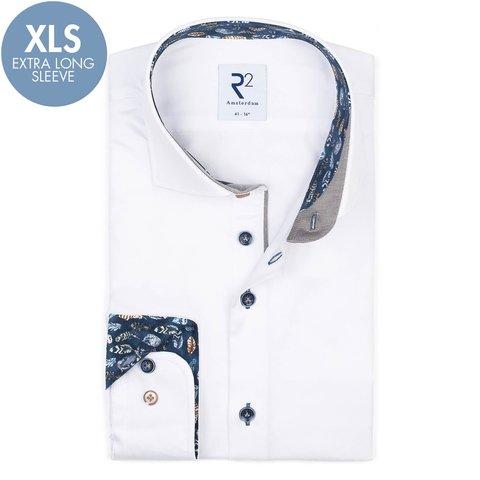 Extra Lange Mouwen. Wit 2 PLY katoenen overhemd.