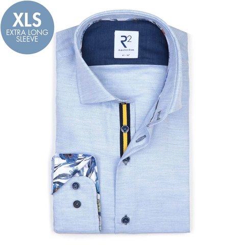 Extra Long Sleeves. Light blue cotton shirt.