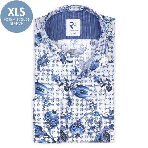 Extra Long Sleeves. White Dutch print cotton shirt.