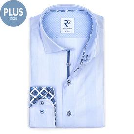 R2 Plus size. Lichtblauw Herringbone katoenen overhemd.