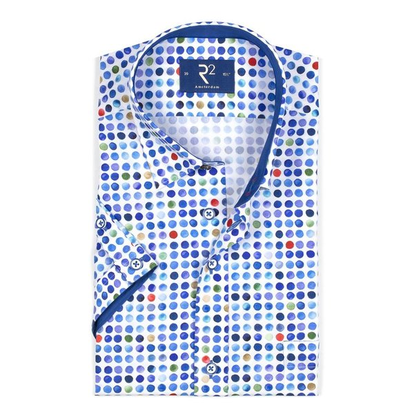 R2 Short sleeved white polka dot print cotton shirt.