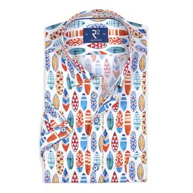 R2 Short sleeved multicolour surfboard cotton shirt.