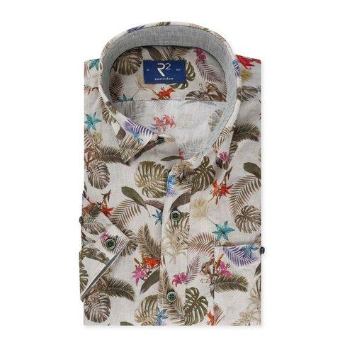 Short sleeved grey leaf print linen shirt.