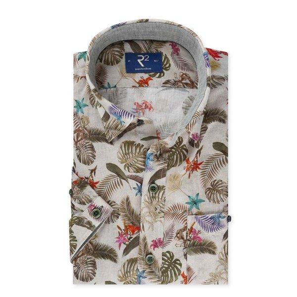 R2 Tropisch linnen korte mouw overhemd.