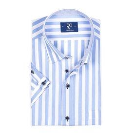 R2 Short sleeved white blue striped cotton shirt.