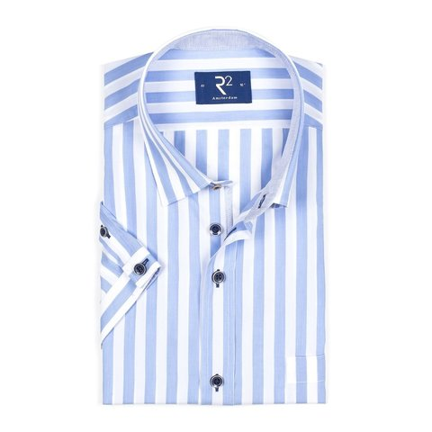 Short sleeved white blue striped cotton shirt.