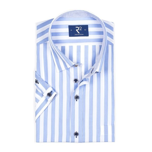 R2 Short sleeved white blue striped cotton shirt.