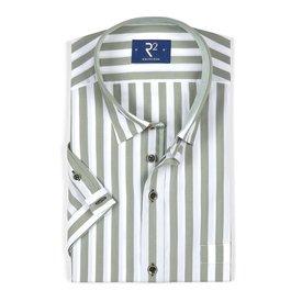 White short sleeves shirt with dark green stripes.