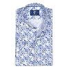 Short sleeved white polka dot print cotton shirt.