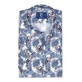 White short sleeves shirt with palm leaves and toucans.