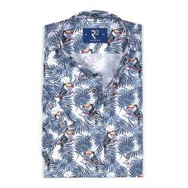Wit korte mouw overhemd met palmbladeren en toekans.