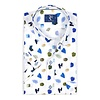 Short sleeved white abstract print cotton shirt.