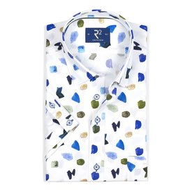 R2 Short sleeved white abstract print cotton shirt.