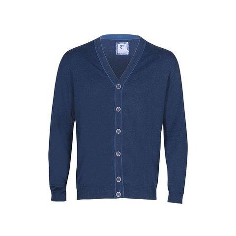 Blue wool cardigan.
