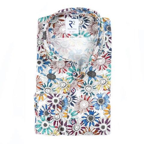 White sunflower print cotton shirt.