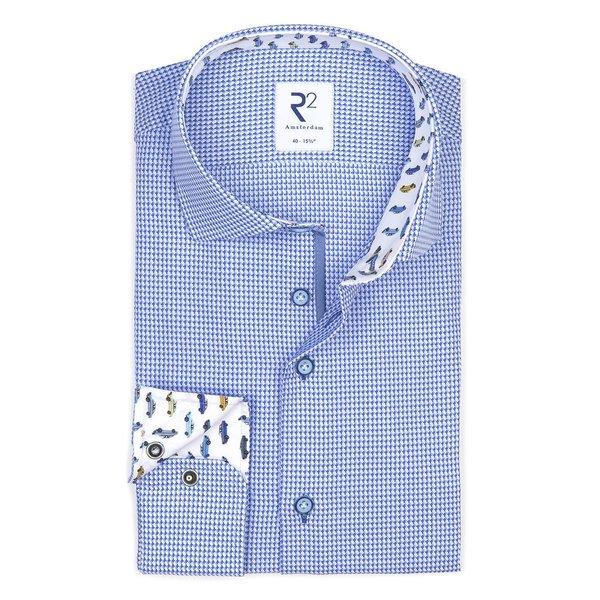 R2 Blauw dobby katoenen overhemd.