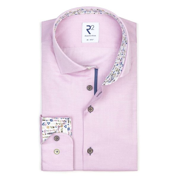 R2 Roze dobby katoenen overhemd.
