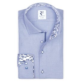 Blauw dobby dessin katoenen overhemd.