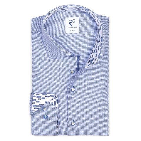 Blaues Dobby Dessin Baumwollhemd.