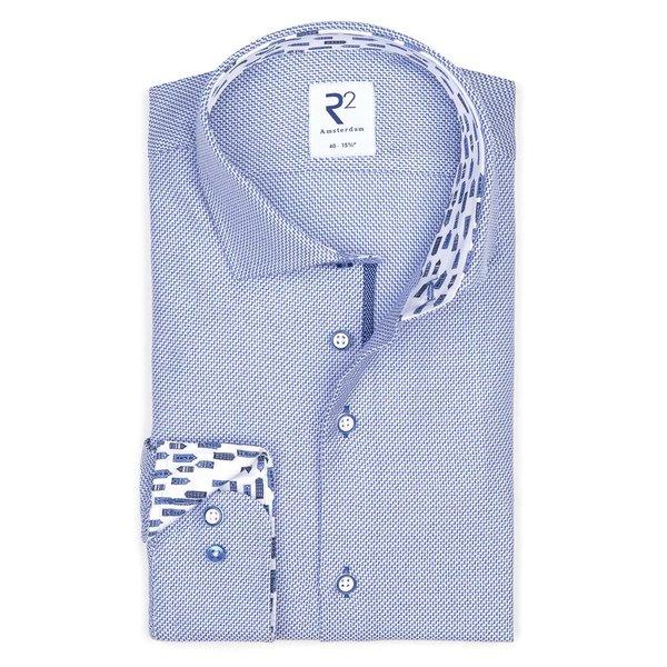 R2 Blue dobby dessin cotton shirt.