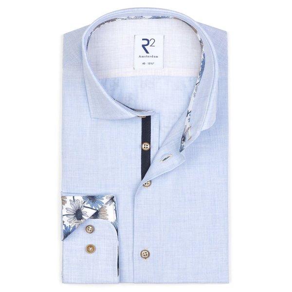 R2 Lichtblauw fil-a-fil mélange katoenen overhemd.