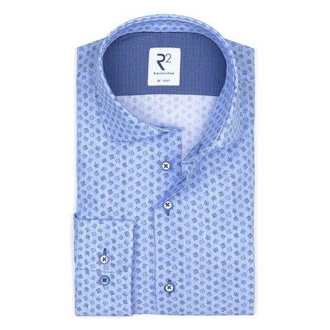 Blauw grafische print katoenen overhemd.