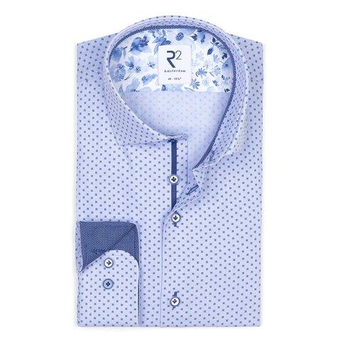 Blaues Dobby Baumwollhemd.
