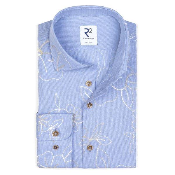R2 Lichtblauw borduur detail katoenen overhemd.